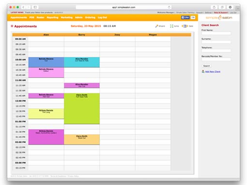 Manage your Appointments - Salon Software Feature