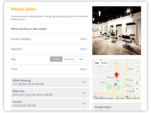 Online Booking - Salon Software Feature